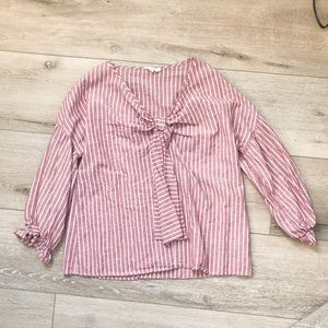 Entro Long Sleeve Maroon and White Striped Top